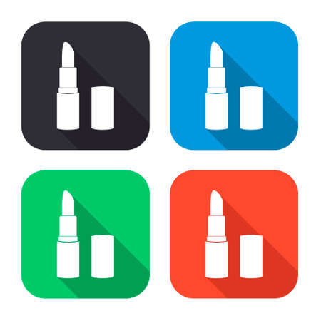 bruise: pomade lipstick vector icon with long shadow - colred set