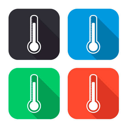 volumetric flask: thermometer vector icon with long shadow - colred set