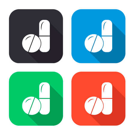 capsules: pills and capsules vector icon with long shadow - colred set