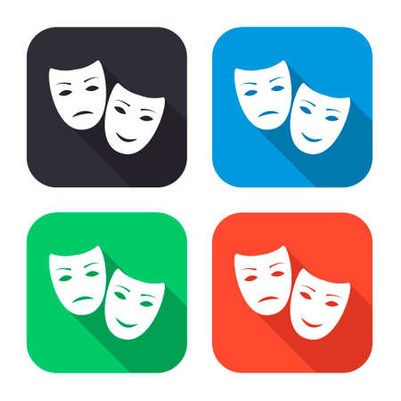 comedy and tragedy masks: tragedy and comedy masks vector icon with long shadow - colred set Illustration