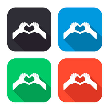 hands in: hands in the form of the heart vector icon with long shadow - colred set Illustration