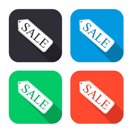 selloff: sale tag vector icon with long shadow - colred set
