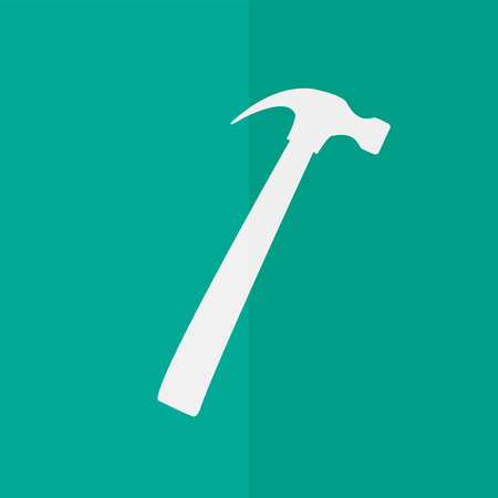leverage: hammer vector icon. Flat design Illustration