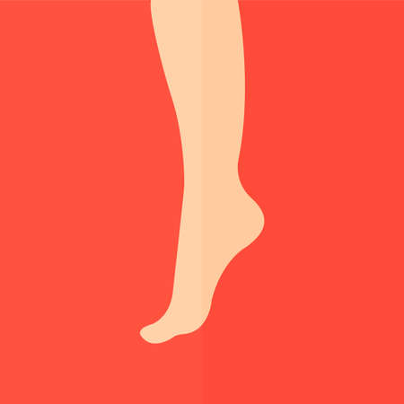 feet care: Female foot vector icon. Flat design Illustration