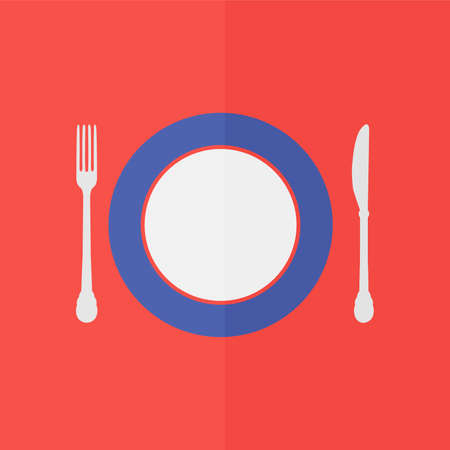 setting table: plate knife and fork vector icon. Flat design