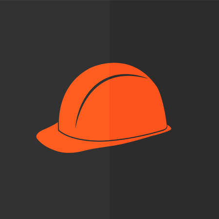 mine site: Safety hard hat vector icon. Flat design Illustration