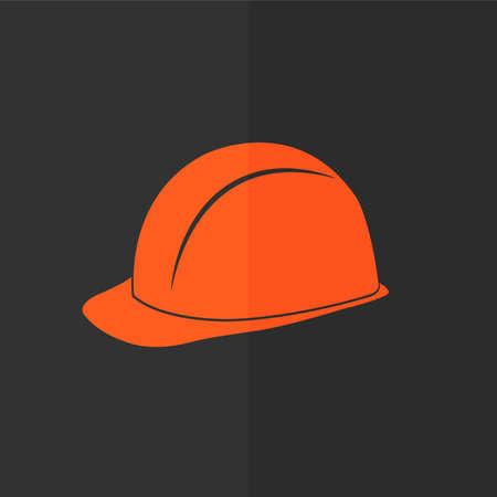hard cap: Safety hard hat vector icon. Flat design Illustration