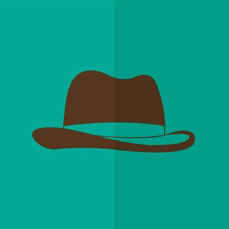 pent: Mans hat vector icon. Flat design Illustration