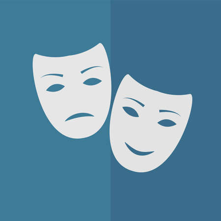 comedy and tragedy: tragedy and comedy masks vector icon. Flat design