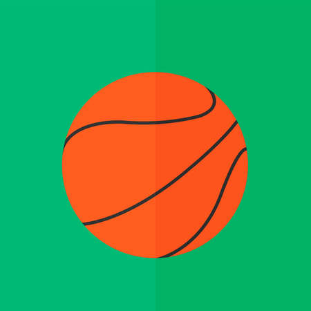 objects with clipping paths: Basketball ball icon. Flat design Illustration