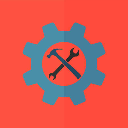 rebuild: wrench and hammer vector icon. Flat design