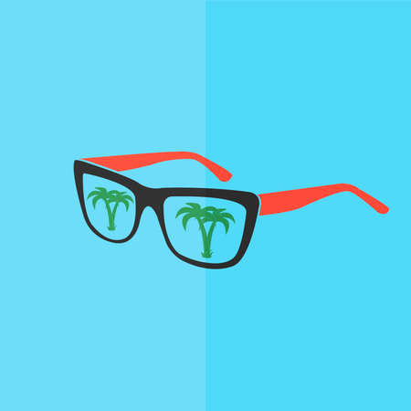 sunglasses reflection: Sunglasses with tropical island reflection vector icon. Flat design Illustration
