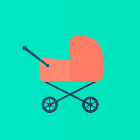 baby carriage icon. Flat design