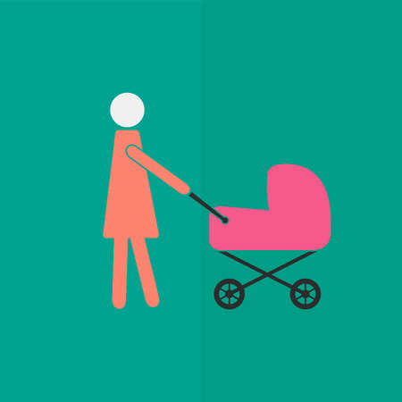 mother and baby: Mother with baby carriage icon. Flat design