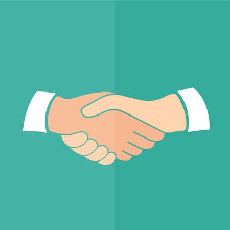 handshake: Icono del apret�n de manos. Dise�o plano