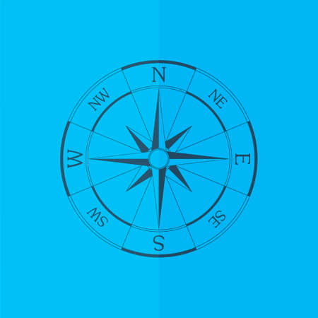 compass rose: Wind rose compass icon. Flat design Illustration