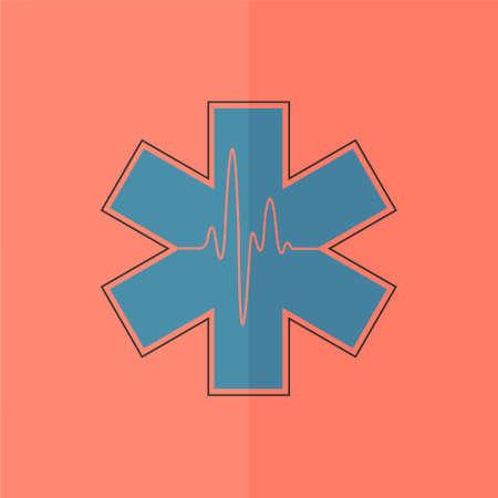 star of life: Life star icon. Flat design