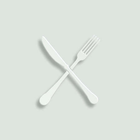 dinning table: crossed fork and knife paper vector icon Illustration