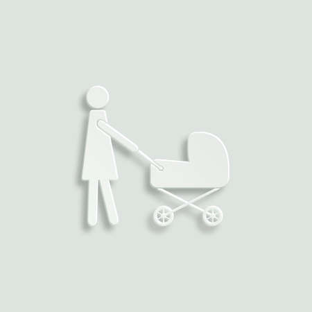 baby and mother: mother with baby carriage Illustration