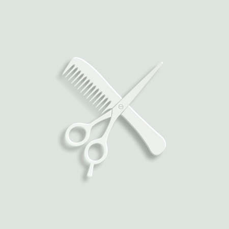 hairstyling: hair salon with scirrors and comb paper vector icon