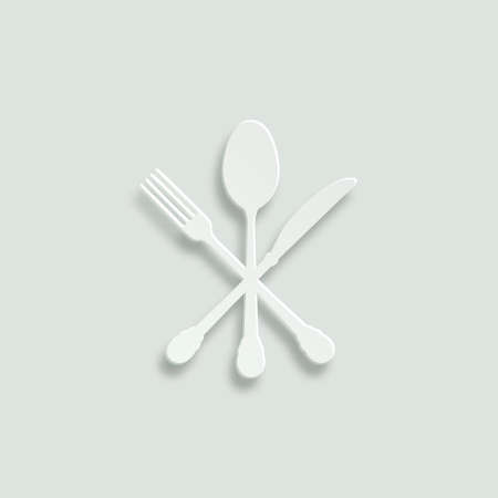 knife fork: crossed knife fork and spoon paper vector icon