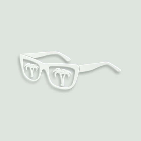 sunglasses reflection: sunglasses with island tropical reflection paper vector icon