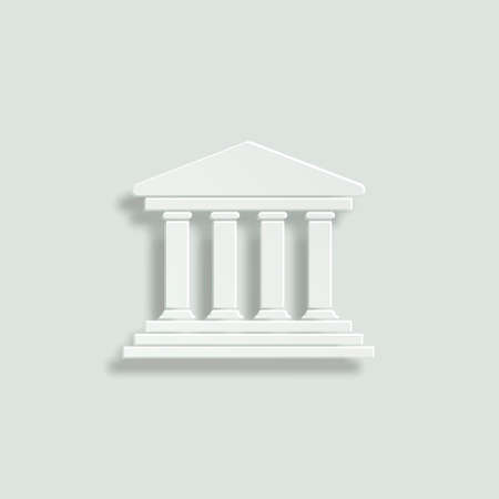 governmental: court building paper vector icon