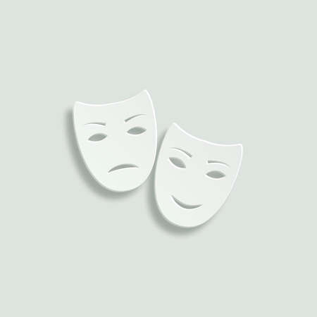 comedy: tragedy and comedy masks paper vector icon