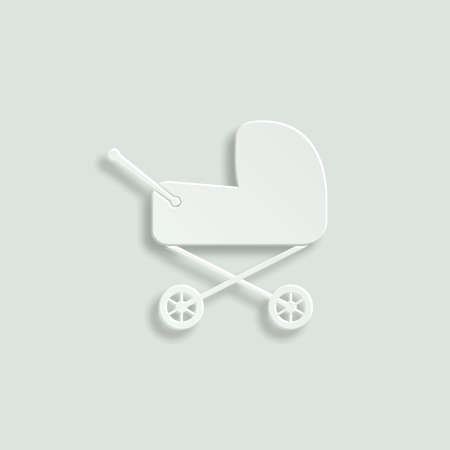 baby carriage paper vector icon