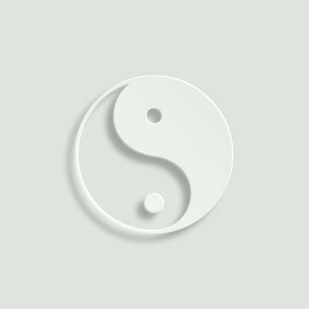 daoism: yin yang vector icon - paper illustration