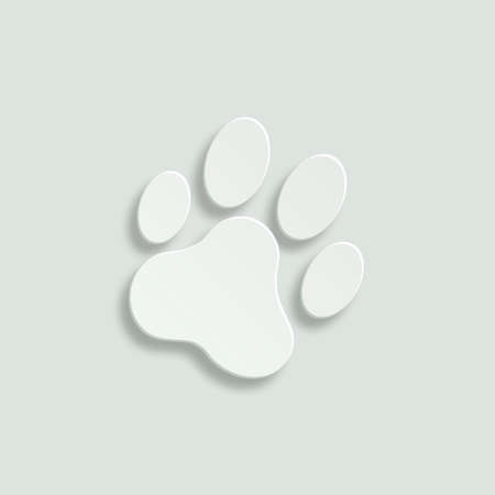 cat paw: cat paw print vector icon - paper illustration Illustration