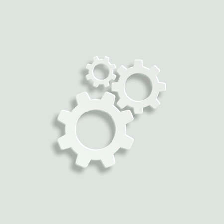 wheel change: cogwheel gear mechanism vector icon - paper illustration
