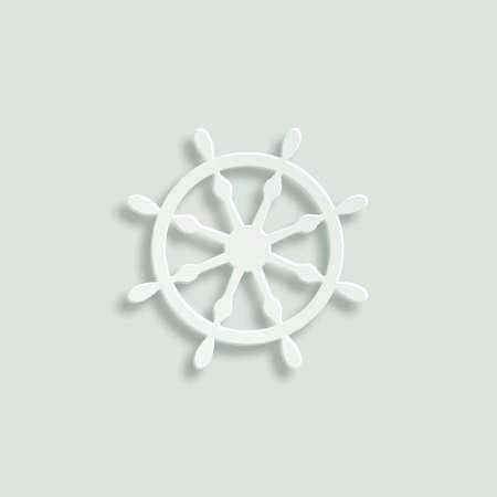 ship steering wheel: ship steering wheel vector icon - paper illustration Illustration
