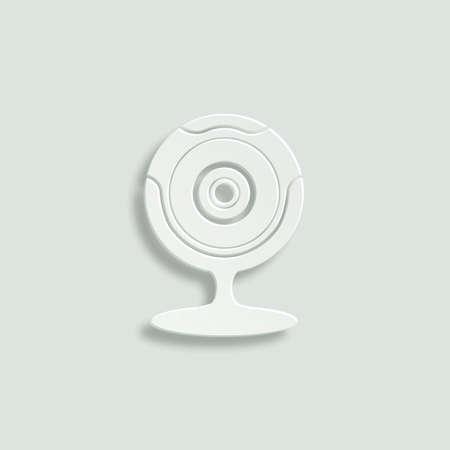 camra: web camera vector icon - paper illustration