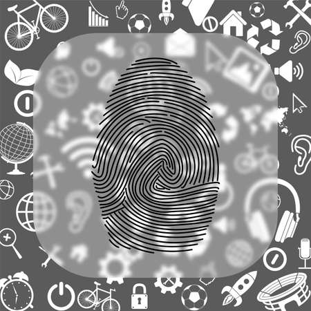 fingerprint vector icon - matte glass button on background consisting of different icons