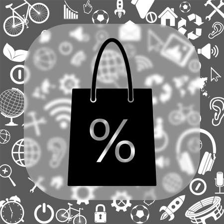 shopping basket vector icon - matte glass button on background consisting of different icons