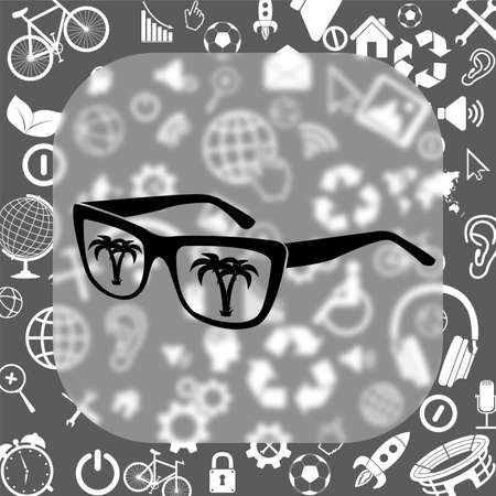 glass reflection: sunglasses with tropical island reflection vector icon - matte glass button on background consisting of different icons