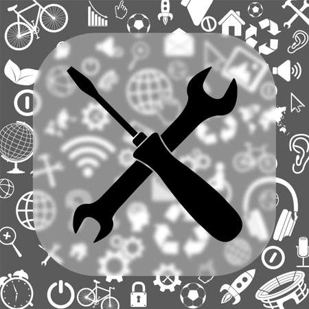 crossed wrench and screwdriver vector icon - matte glass button on background consisting of different icons