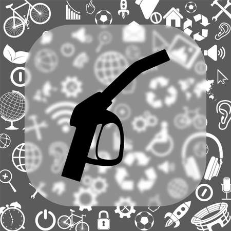unleaded: close up of a gas station vector icon - matte glass button on background consisting of different icons Illustration