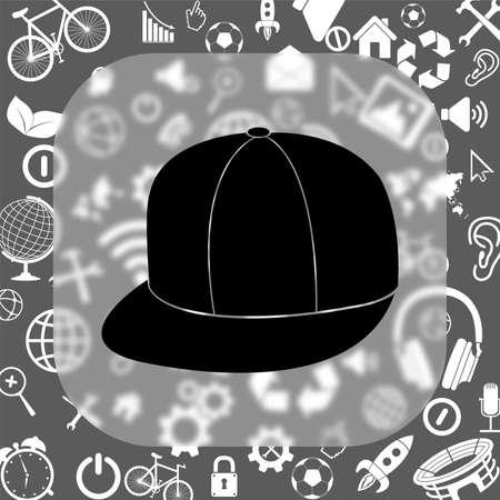 rapero: sombrero rapero icono de vector - Bot�n de cristal mate de fondo que consiste en diferentes iconos