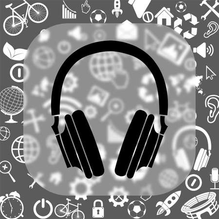 headphones vector icon - matte glass button on background consisting of different icons