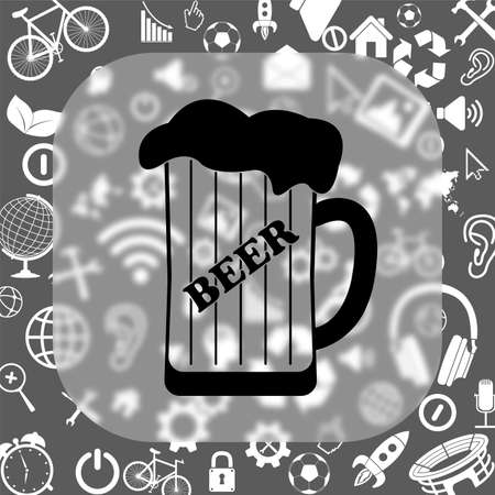 draughts: mug of beer vector icon - matte glass button on background consisting of different icons