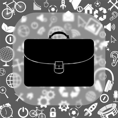 waft: briefcase vector icon - matte glass button on background consisting of different icons