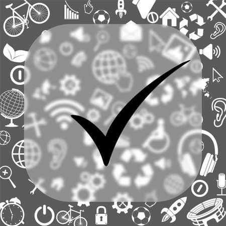 icône de coche vecteur - bouton de verre mat sur fond composé de différentes icônes