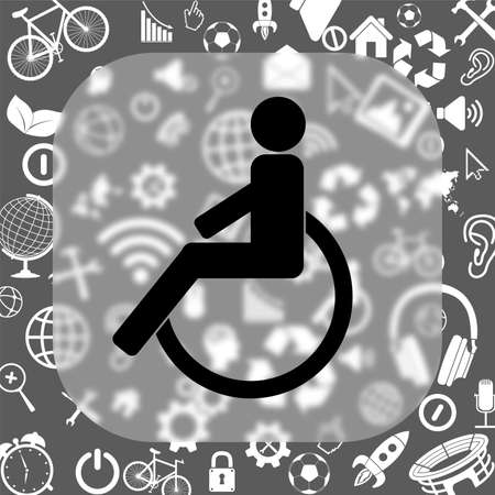 disabled vector icon - matte glass button on background consisting of different icons
