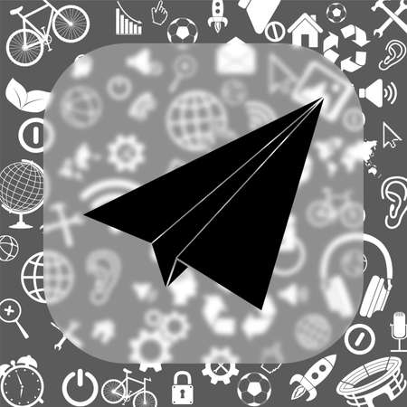 paper airplane: paper airplane vector icon - matte glass button on background consisting of different icons