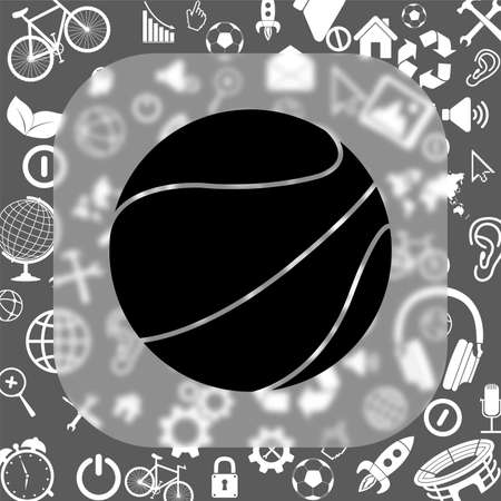 reflection of life: basketball ball vector icon - matte glass button on background consisting of different icons