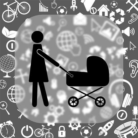 reflection of life: mother with baby vector icon - matte glass button on background consisting of different icons