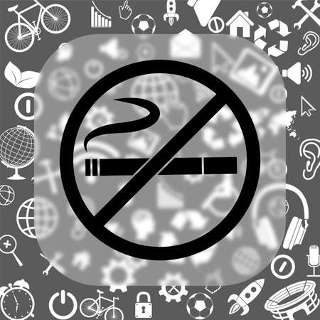 abstain: no smoking vector icon - matte glass button on background consisting of different icons