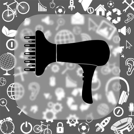 blow dryer: blow dryer vector icon - matte glass button on background consisting of different icons Illustration